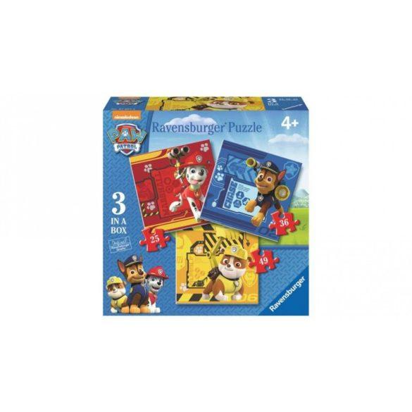 Ravensburger 07057 puzzle - Mancs őrjárat  3 az 1-ben (25, 36 és 49 db-os)