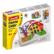 Quercetti FantaColor tároló dobozos pötyi játék, házikós - 300 db szögletes tüskével