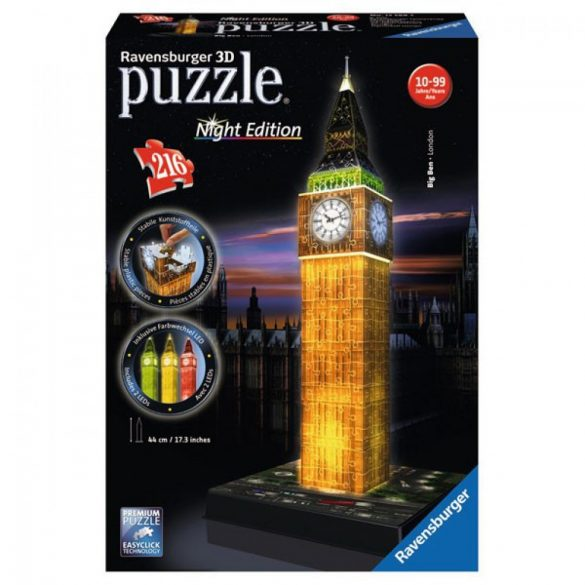 Ravensburger 12588 Night Edition 3D puzzle - Világító Big Ben (216 db-os)