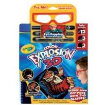 Crayola - Extrém 3D fekete rajzoló füzet filctollakkal és szemüveggel