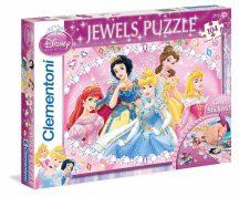 Clementoni Jewels puzzle - Disney hercegnők csillogó ékkövekkel (104 db-os) 20018