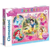 Clementoni Super Color puzzle - Csillámos Disney hercegnők (104 db-os) 20134