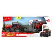 Dickie Toys Farm - Massey Ferguson traktor darus rönkszállítóval fénnyel és hanggal