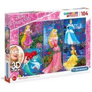 Clementoni 20609 3D Vision puzzle - Disney hercegnõk (104 db)
