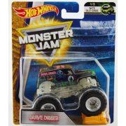 Hot Wheels Monster Jam kisautók kilapítható gumiautóval - Grave Digger foszforeszkáló alvázzal