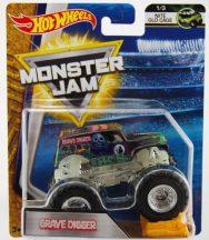 Hot Wheels Monster Jam kisautók kilapítható gumiautóval - GRAVE DIGGER (foszforeszkáló alvázzal)