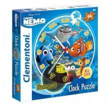 Clementoni Fluoreszkáló Puzzle - Némó nyomában óra puzzle (96 db-os)