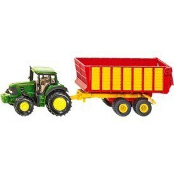 SIKU 1650 John Deere traktor pótkocsival