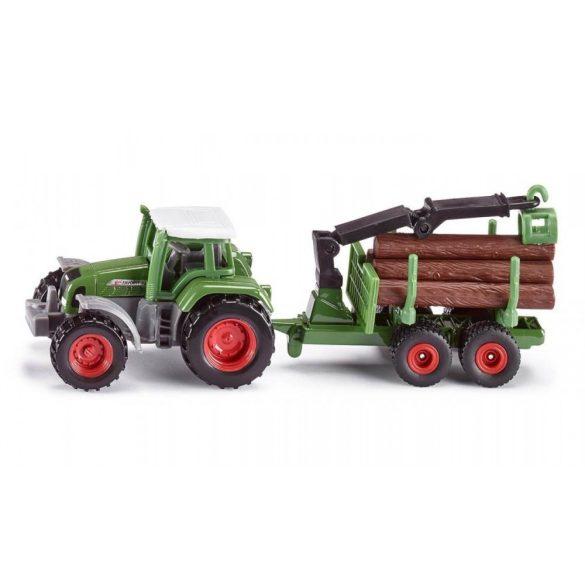 SIKU 1645 Fendt traktor rönkpakoló utánfutóval