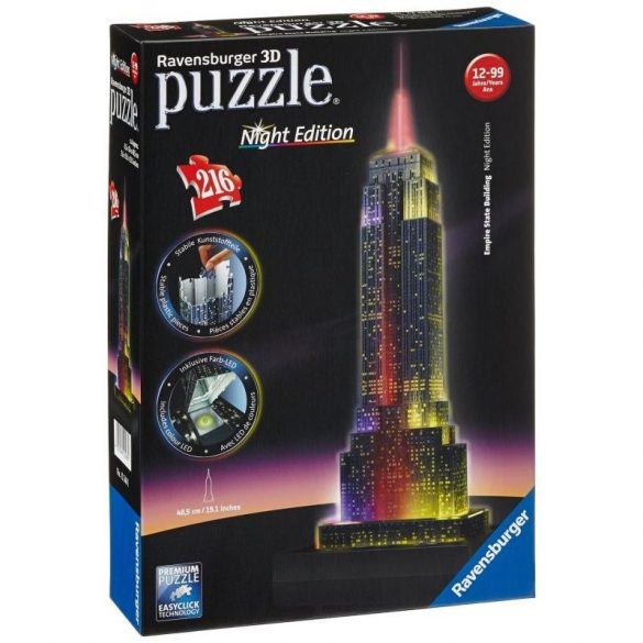 Ravensburger 12566 3D Night Edition puzzle - Empire State Buliding éjjel (216 db-os)