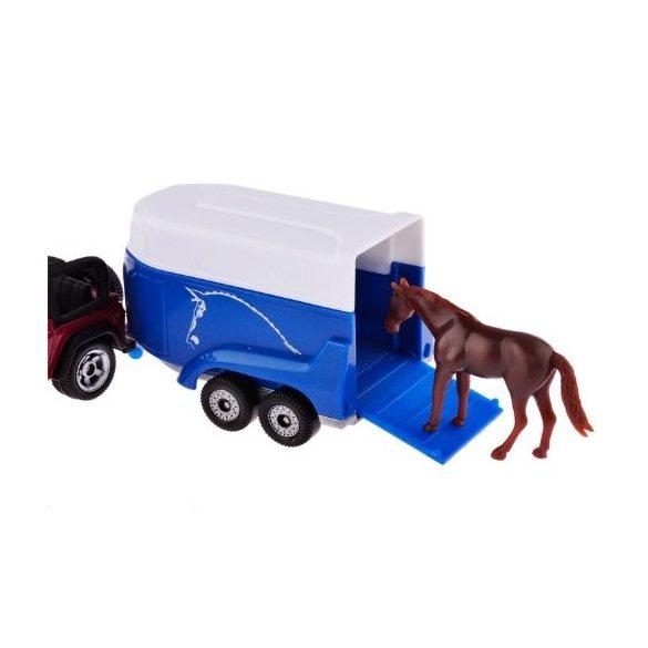 SIKU 1651 Jeep lószállítóval és lóval