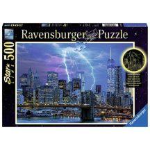 Ravensburger 14909 Star Line foszforeszkáló fotó puzzle - Villám New York felett (500 db-os)