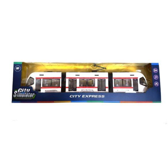 City Express fehér játék villamos