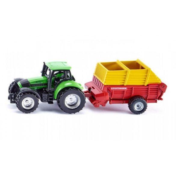 SIKU 1676 Deutz-Fahr traktor országúti utánfutóval