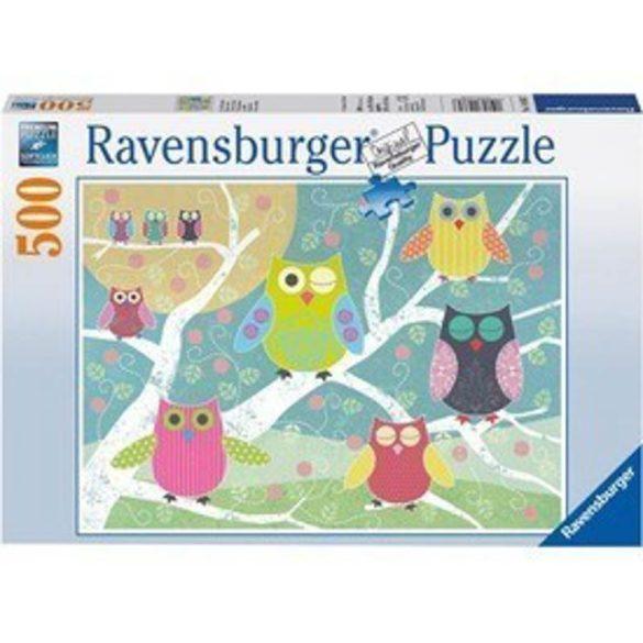 Ravensburger 14362 puzzle - Színes baglyok (500 db-os)