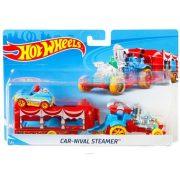 Hot Wheels autó szállító kamion kisautóval - Car-Nival Streamer (Piros)