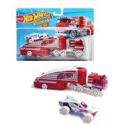 Hot Wheels autó szállító kamion kisautóval - Stuntin' Semi (Piros)