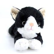 Fekvõ cica plüssfigura - Fekete (24 cm)