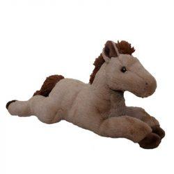 Plüss fekvő barna ló 46 cm