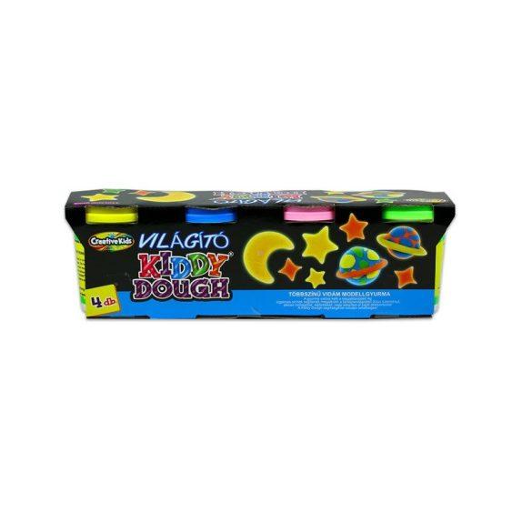 CreativeKid Kiddy Dough - Sötétben világító gyurma (4 db-os)