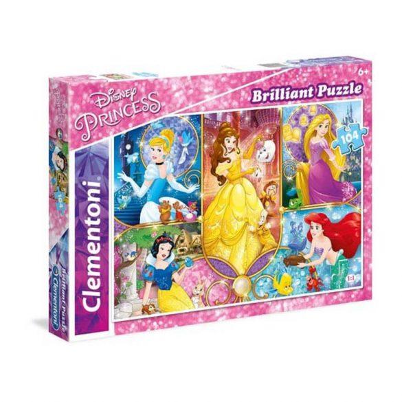 Clementoni 20140 Brilliant puzzle - Disney Hercegnők (104 db-os)