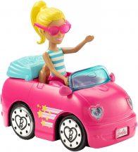 Barbie on the Go baba járművel - Szőke hajú baba rózsaszín kabrióval