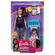 Barbie Skipper Babysitters - Pizsamás Barbie baba gyerekszoba szettel és kislánnyal