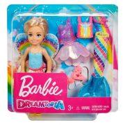 Barbie Dreamtopia - Chelsea szivárványos ruhában (hercegnő + tündér + sellő szett)