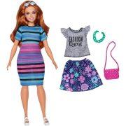 Barbie Fashionistas Happy Hued csíkos ruhás molett baba (84)