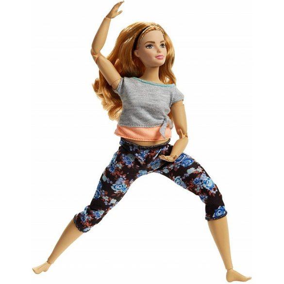 Barbie hajlékony jógababa virágos nadrágban (barackszínű)