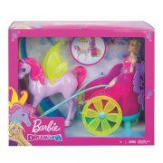Barbie Dreamtopia - Hercegnő baba hintóval és szárnyas lóval