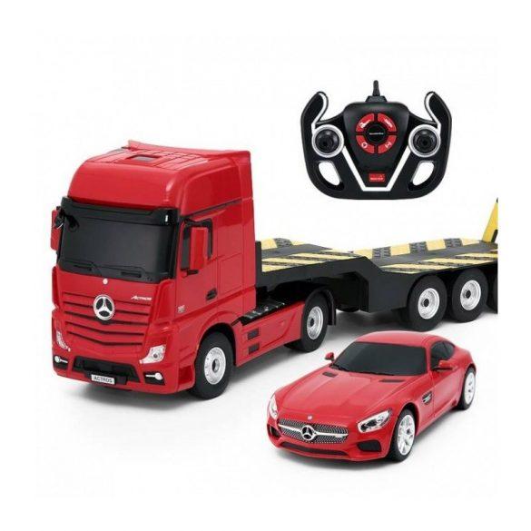 RASTAR Távirányítós kamion és autó 1:24-es méretaránnyal - MERCEDES-BENZ ACTROS + AMG GT (piros)