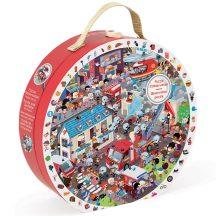 Janod J02793 Képkereső puzzle bőröndben - Tűzoltók (208 db-os)