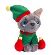 Plüss francia bulldog karácsonyi manó ruhában (14 cm)