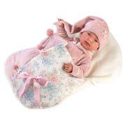 Llorens Tina újszülött síró baba virágos pólyában (44 cm)