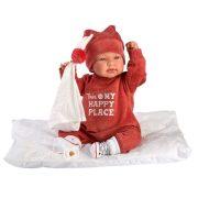 Llorens Tina újszülött síró baba piros szettben, párnával (44 cm)
