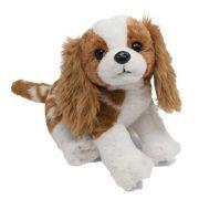 Ülõ kutya plüssfigura - Barna-fehér foltos Spániel (30 cm)