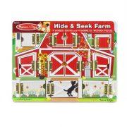 Melissa & Doug Készségfejlesztő fa játék - Mágneses bújócska farm ház