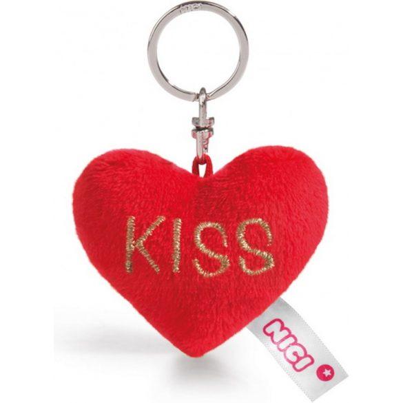 NICI Love plüss szív kulcstartó - KISS