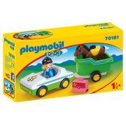 Playmobil 1-2-3 70181 Kisautó lószállító pótkocsival