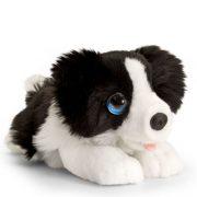 Fekvő plüss fekete-fehér színű kutya figura - Border Collie (25 cm)