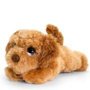 Fekvő plüss barna színű kutya figura - Cockapoo (25 cm)