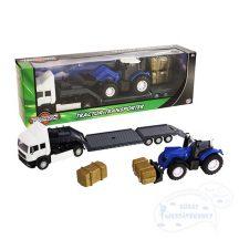Teamsterz Traktorszállító kék traktorral