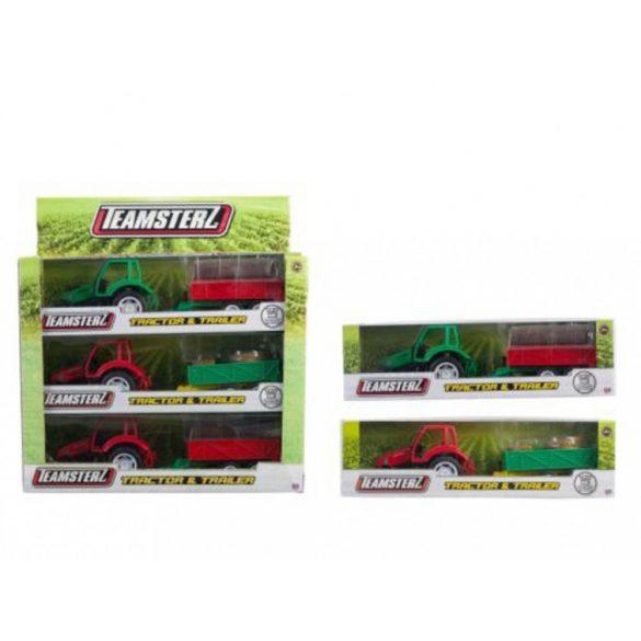 Teamsterz traktor és pótkocsi_ Piros traktor zöld pótkocsival
