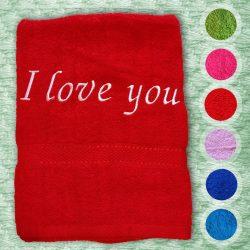 Törölközõ hímzett felirattal - I LOVE YOU