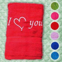 Törölközõ hímzett felirattal - I LOVE YOU (SZÍVVEL)
