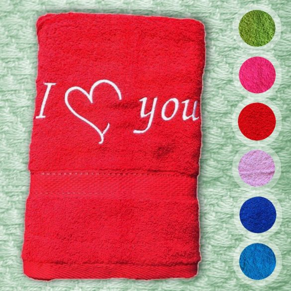 Törölközõ hímzett I love you (szívvel) felirattal