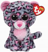 Beanie Boos TASHA - pink/szürke leopárd plüss figura 15 cm