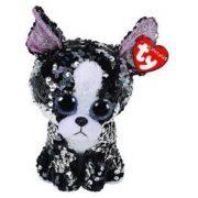 Beanie Boos Flippables Porita - flitteres fekete-fehér terrier plüss figura (15 cm)