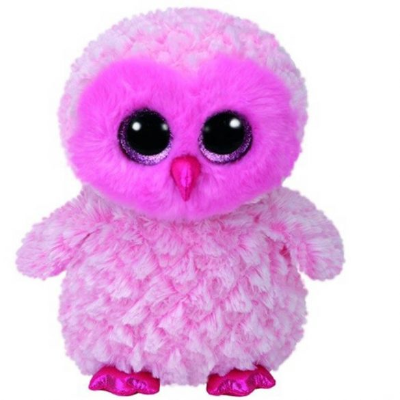 Beanie Boos TWIGGY - rózsaszín bagoly plüss figura 24 cm
